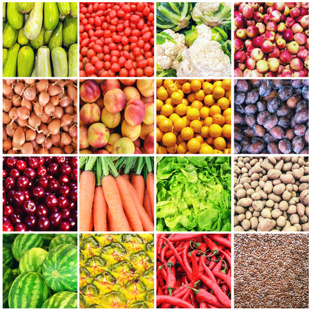 tomatto: Huge collage of various healthy Fruit and Vegetables Stock Photo