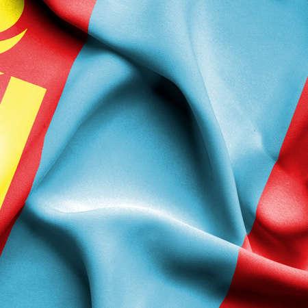 mongolia: Mongolia waving flag