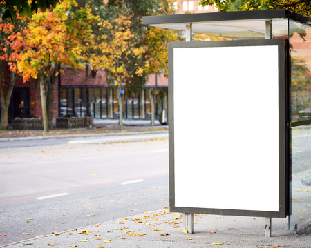 advertise: Blank billboard on city bus station Stock Photo