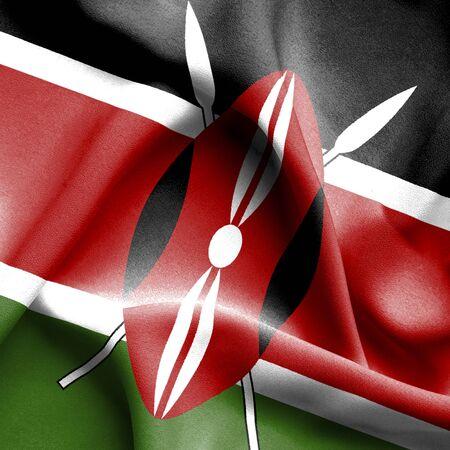 kenya: Kenya waving flag Stock Photo