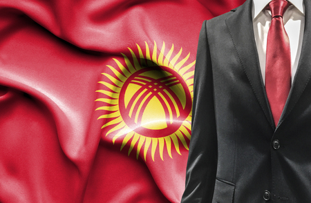 undercover agent: Man in suit from Kyrgyzstan Stock Photo