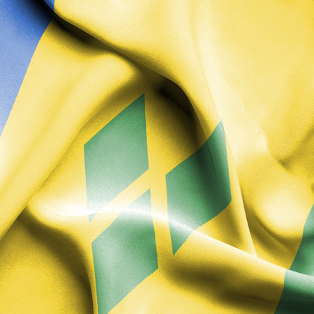 grenadines: Saint Vincent and Grenadines waving flag Stock Photo