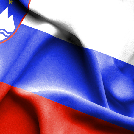 slovenia: Slovenia waving flag Stock Photo