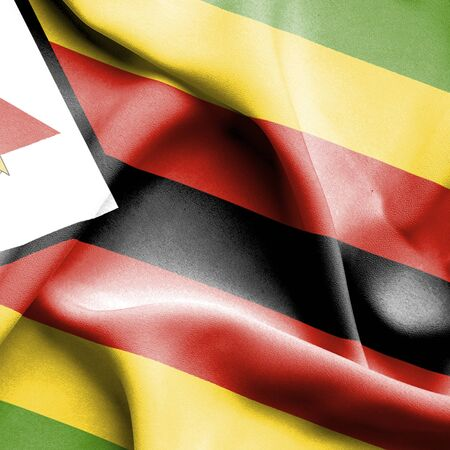 zimbabwe: Bandera que agita de Zimbabwe