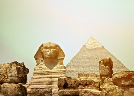 egyptology: Sphinx and the Great pyramid in Egypt - Giza