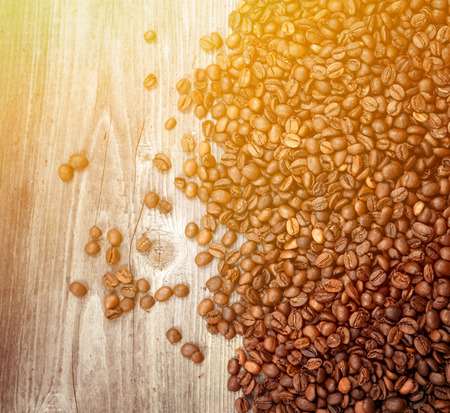 coffeetree: Coffee beans on wooden background