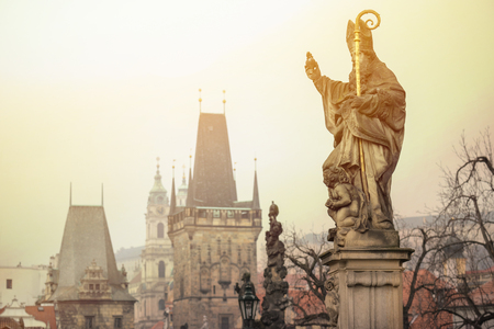 View on sculptures of the Charles bridge - Prague Czech Republic
