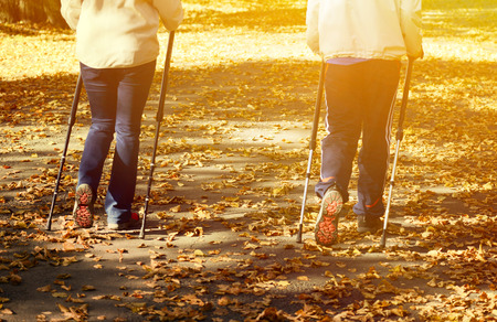 Senior couple making Nordic walking in park