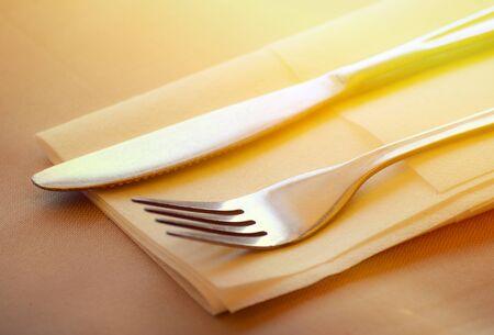 table set: Fork and knife restaurant table set