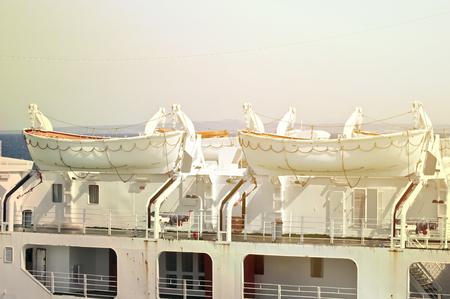 lifeboats: Lifeboats at cruise ship Stock Photo