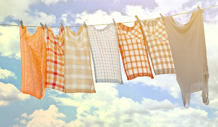 laundry line: Laundry hanging over sky