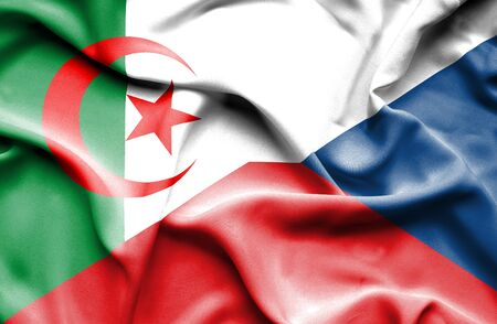 the czech republic: Waving flag of Czech Republic and Algeria Stock Photo
