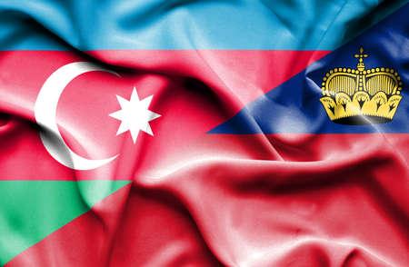 lichtenstein: Waving flag of Lichtenstein and Azerbaijan
