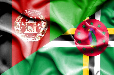 dominica: Waving flag of Dominica and Afghanistan