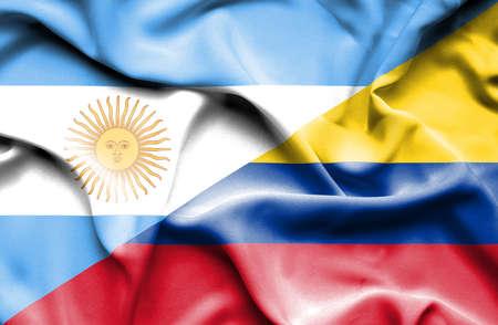 columbia: Waving flag of Columbia and