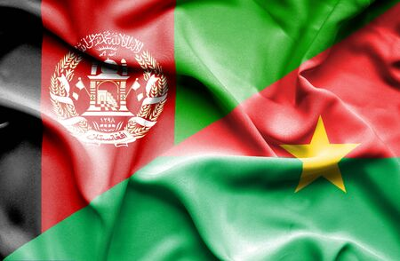 burkina faso: Waving flag of Burkina Faso and Afghanistan