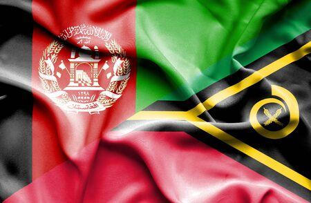vanuatu: Waving flag of Vanuatu and Afghanistan