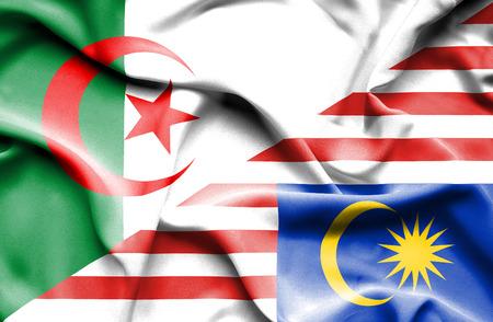 algerian flag: Waving flag of Malaysia and Algeria