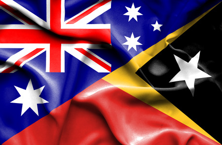 australia: Waving flag of East Timor and