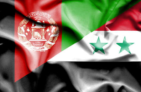 syria peace: Waving flag of Syria and Afghanistan