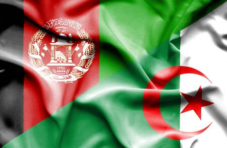 algeria: Waving flag of Algeria and Afghanistan Stock Photo
