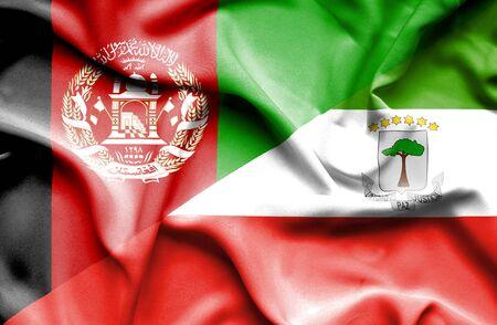 equatorial: Waving flag of Equatorial Giuinea and Afghanistan Stock Photo