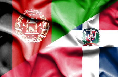 dominican republic: Waving flag of Dominican Republic and Afghanistan