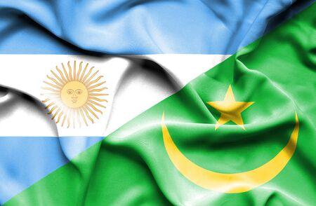 mauritania: Waving flag of Mauritania and Argentina Stock Photo