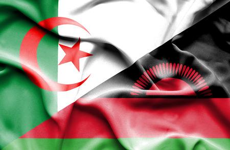 malawi: Waving flag of Malawi and Algeria