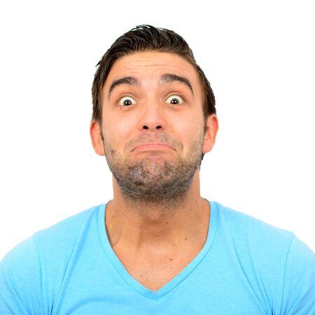 Portrait d'un homme avec le visage drôle sur fond blanc Banque d'images