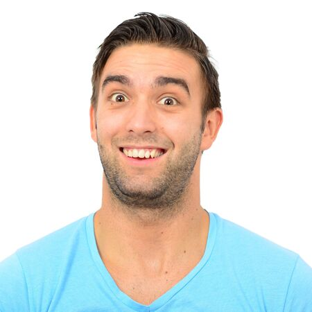 laughing out loud: Portrait of man with funny face against white background