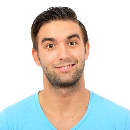 Portrait of handsome man in casual clothes against white background