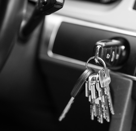 key to freedom: Car keys in black and white