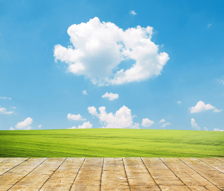 green meadow: Fresh spring green grass with blue sky and wooden floor Stock Photo