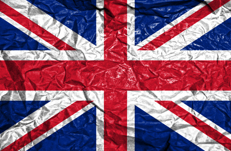 great britain: Great Britain vintage flag on old crumpled paper background