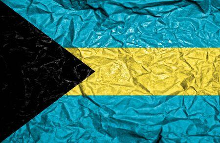 bahamas celebration: Bahamas vintage flag on old crumpled paper background