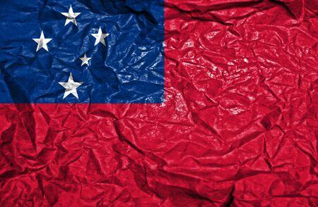 samoa: Samoa vintage flag on old crumpled paper background