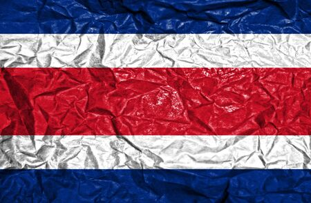 costa rican flag: Costa Rica vintage flag on old crumpled paper background