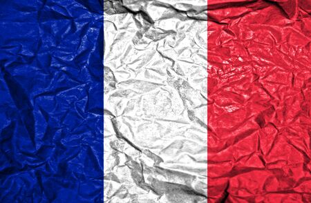 french culture: France vintage flag on old crumpled paper background