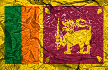sri lankan flag: Sri Lanka vintage flag on old crumpled paper background