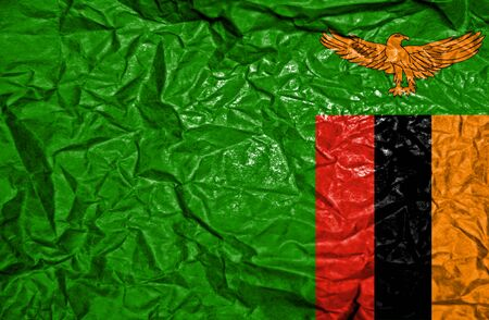 zambian flag: Zambia vintage flag on old crumpled paper background Stock Photo