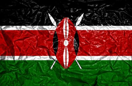flag: Kenya vintage flag on old crumpled paper background Stock Photo