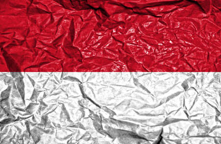 national flag indonesian flag: Indonesia vintage flag on old crumpled paper background Stock Photo