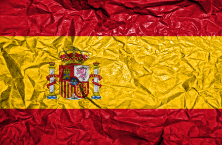 spainish: Spain vintage flag on old crumpled paper background Stock Photo