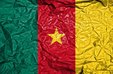 cameroonian: Cameroon vintage flag on old crumpled paper background Stock Photo
