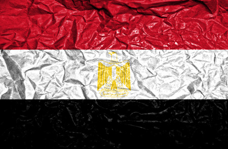 egyptian culture: Egypt vintage flag on old crumpled paper background