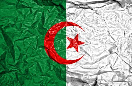 old flag: Algeria vintage flag on old crumpled paper background Stock Photo