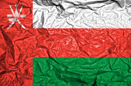 oman background: Oman vintage flag on old crumpled paper background
