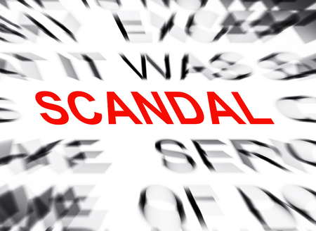 scandal: Blured text with focus on SCANDAL Stock Photo