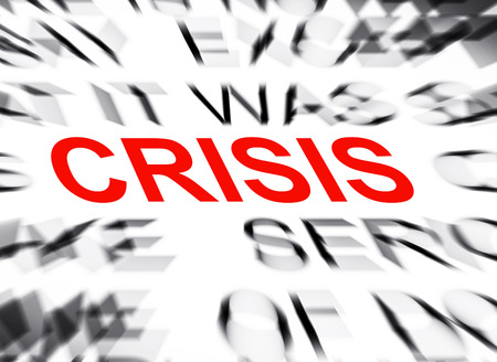 definition define: Blured text with focus on CRISIS Stock Photo
